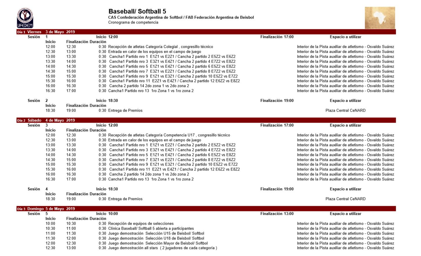 Baseball softball 5 2.1 - Cronograma