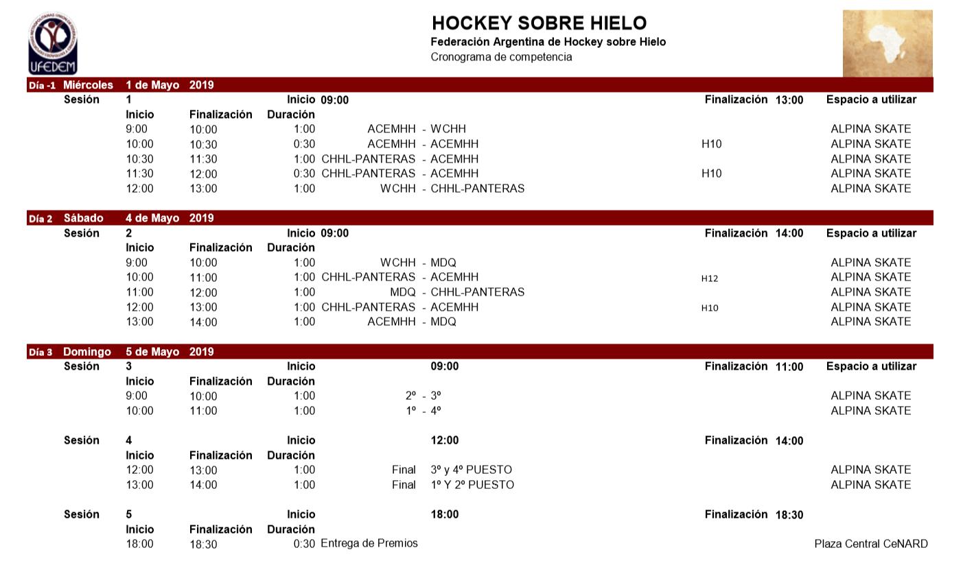 Hockey sobre Hielo 2.1 - Cronograma