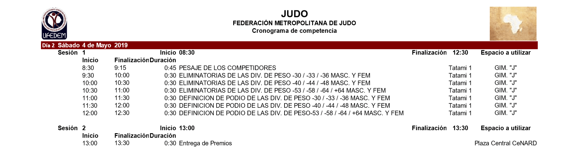 Judo 2.1 - Cronograma