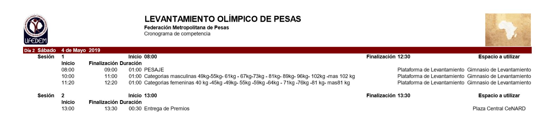Levantamiento Olimpico de pesas 2.1 - Cronograma
