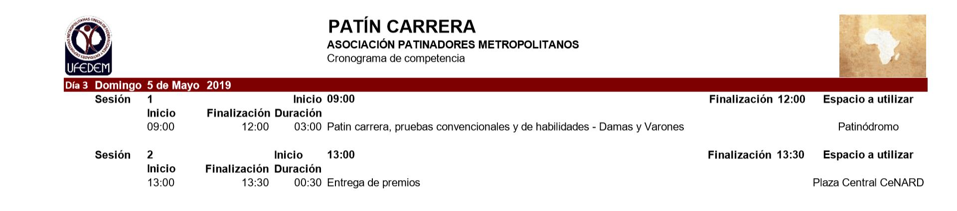 Patín Carrera 2.1 - Cronograma