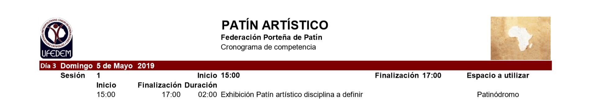 Patin Artistico 2.1 - Cronograma