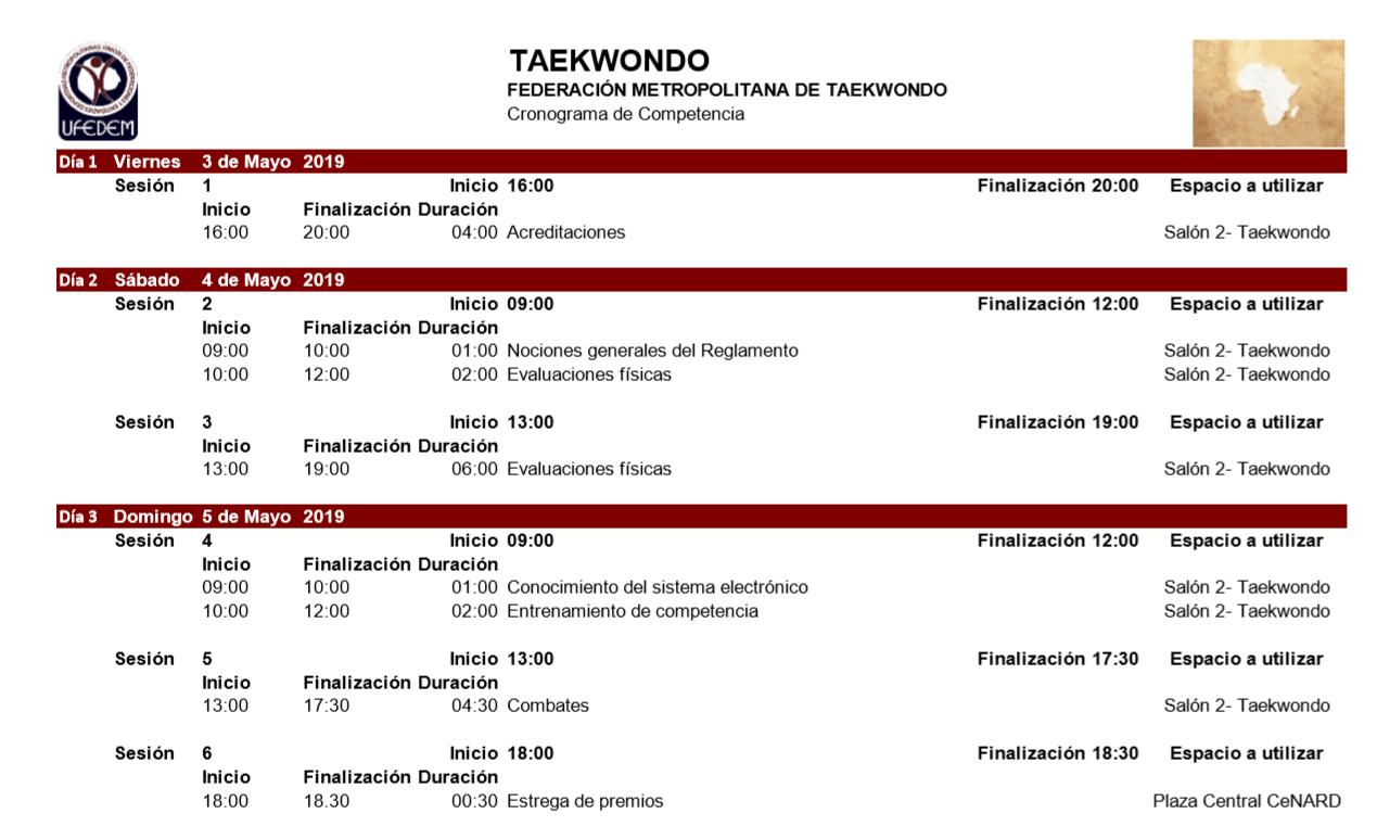 Taekwondo 2.1 - Cronograma