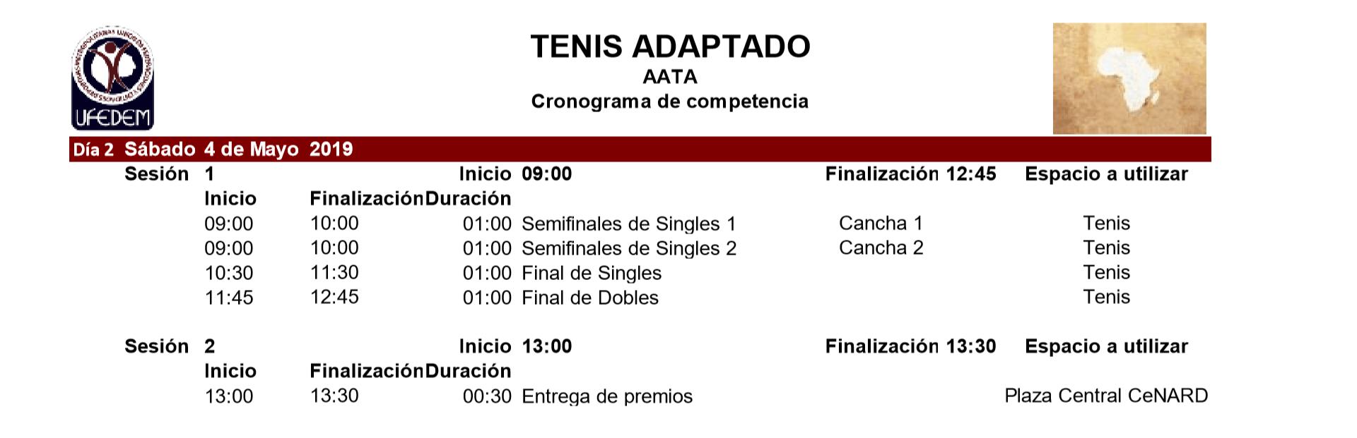 Tenis Adaptado 2.2 - Cronograma