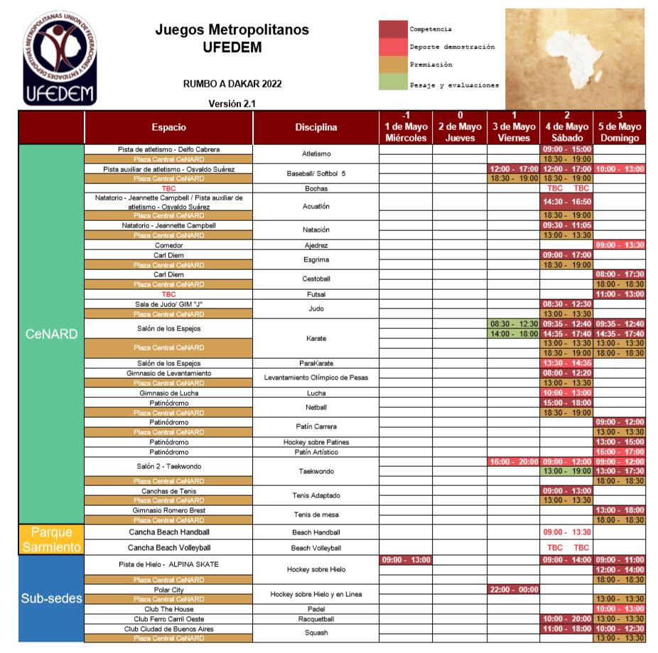 Calendario Juegos UFEDEM 2.1  - Cronograma